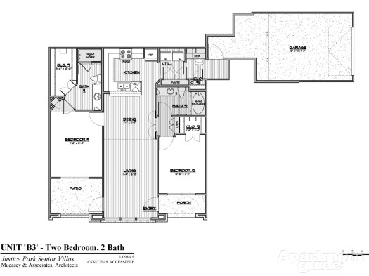 1,098 sq. ft. B3 60 floor plan