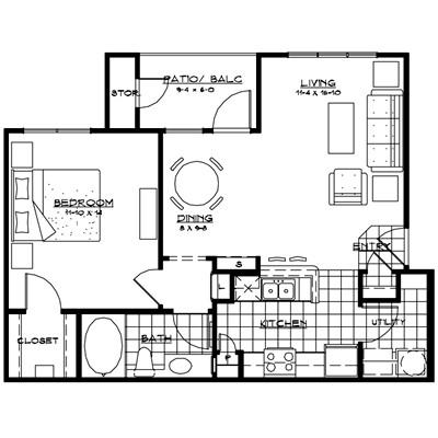 784 sq. ft. MILANO floor plan