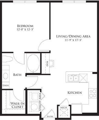 733 sq. ft. 6A4 floor plan