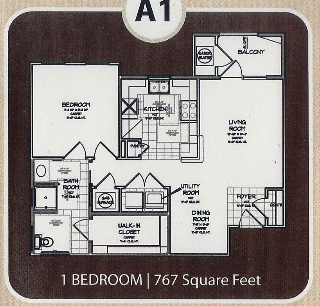 767 sq. ft. 50% floor plan