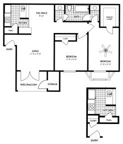 829 sq. ft. floor plan