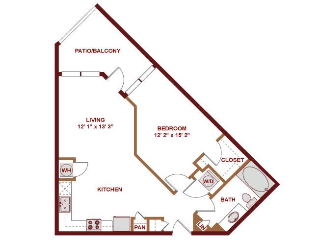 697 sq. ft. A200 floor plan