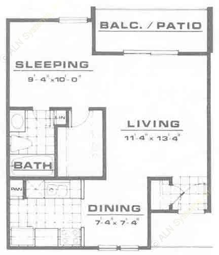 510 sq. ft. A1 floor plan