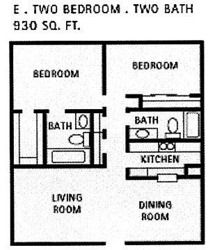 930 sq. ft. E floor plan