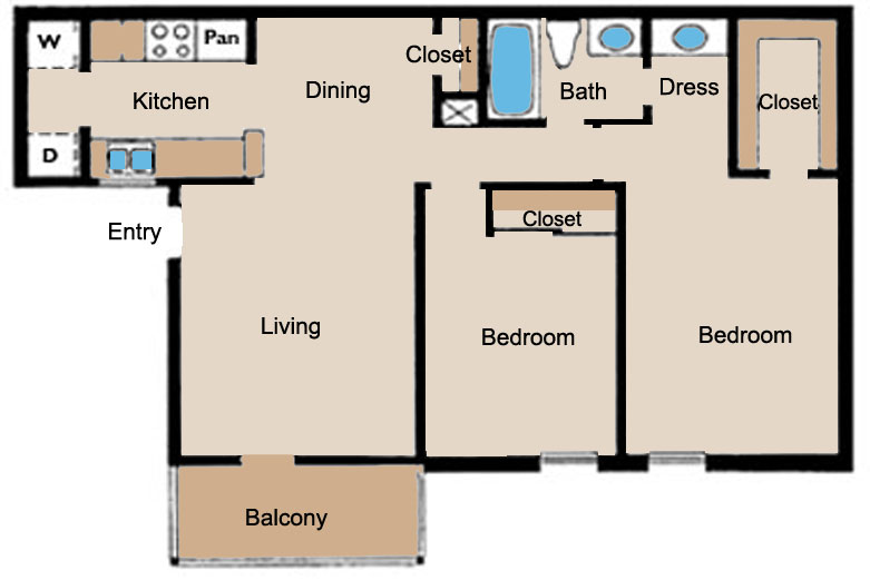 850 sq. ft. B floor plan