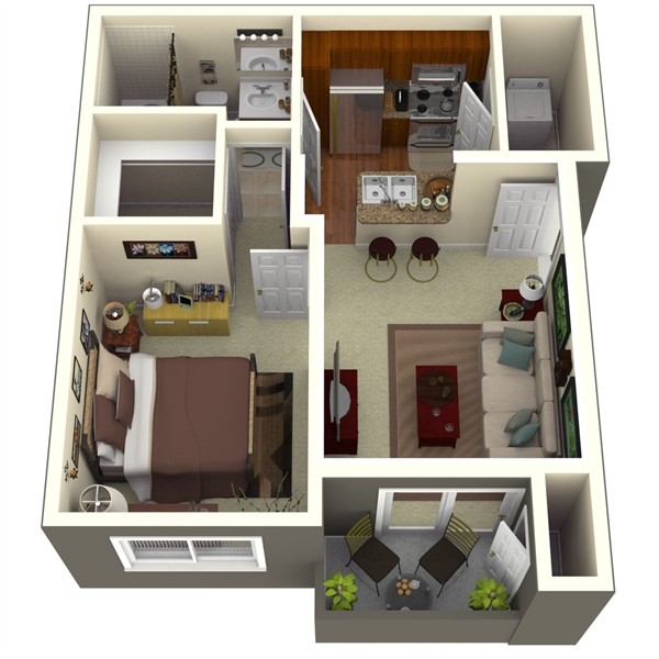 650 sq. ft. Aspen 1 floor plan