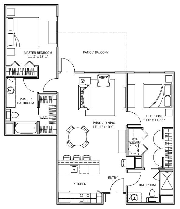 1,079 sq. ft. Texas Primrose 80% floor plan