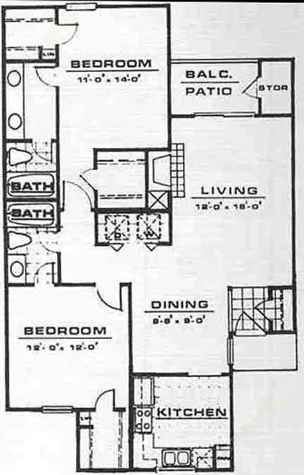 1,070 sq. ft. B3 floor plan