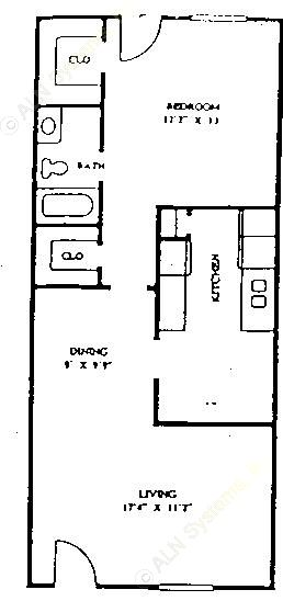 756 sq. ft. 60% floor plan