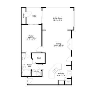 1,029 sq. ft. 1A6.3 floor plan