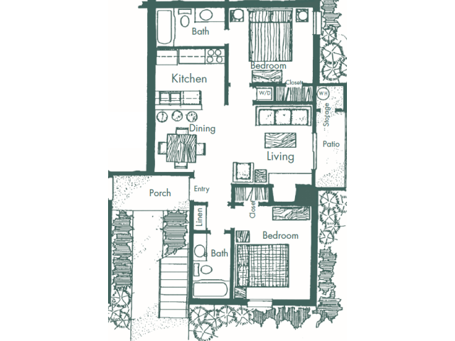 750 sq. ft. F floor plan
