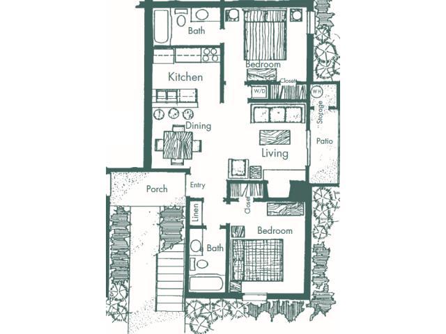 750 sq. ft. F floor plan