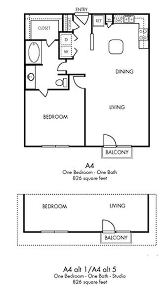 826 sq. ft. Chic floor plan