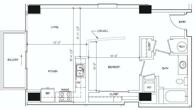 672 sq. ft. ADAMS floor plan
