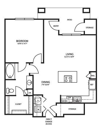 910 sq. ft. A3G1HC floor plan
