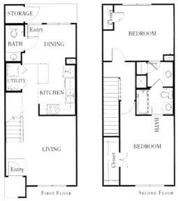 1,127 sq. ft. B22/60 floor plan