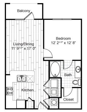 672 sq. ft. A1 floor plan