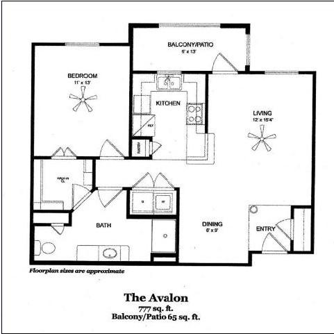 777 sq. ft. AVALON/60 floor plan