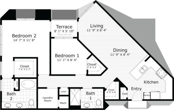 1,231 sq. ft. Russell Th/mezz floor plan