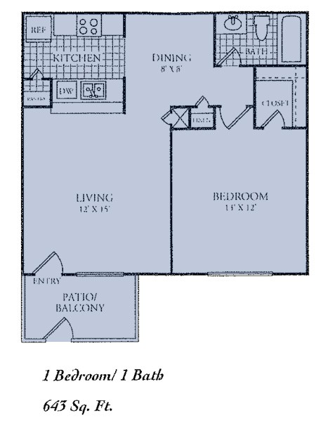 643 sq. ft. B floor plan
