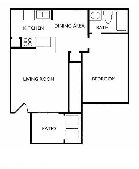 540 sq. ft. A2 floor plan