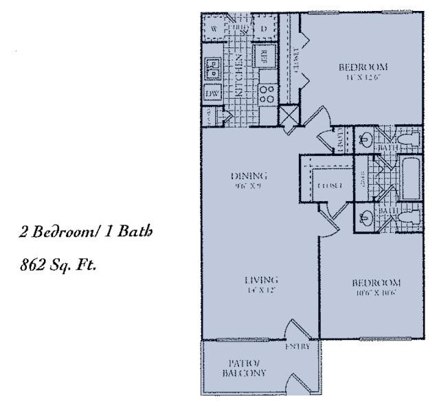 862 sq. ft. E floor plan