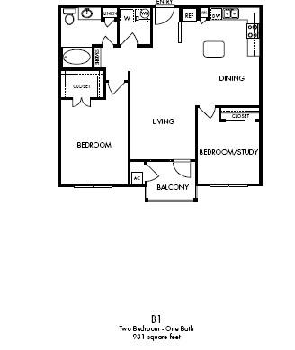 931 sq. ft. Noble floor plan