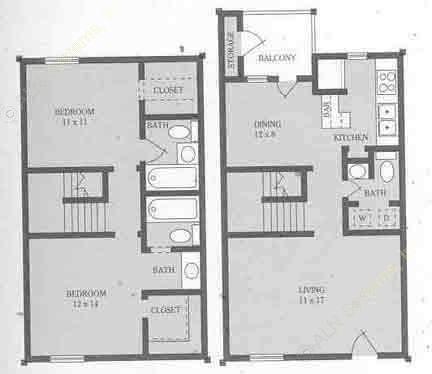 1,060 sq. ft. B floor plan