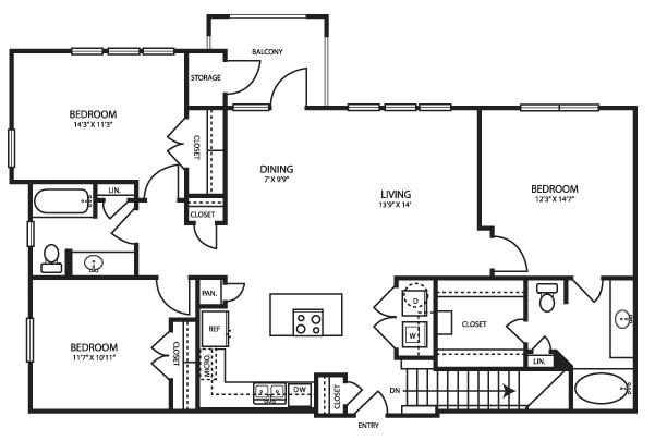 1,377 sq. ft. C13 floor plan