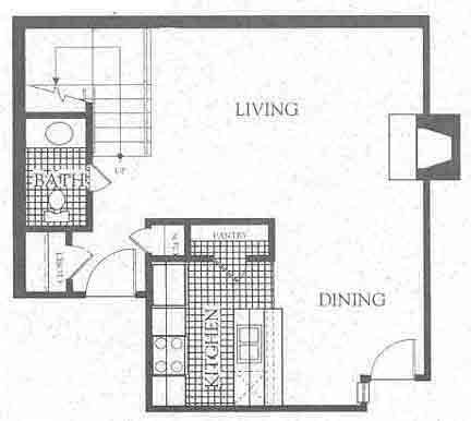 1,074 sq. ft. B3 floor plan