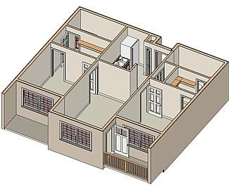732 sq. ft. 60% floor plan
