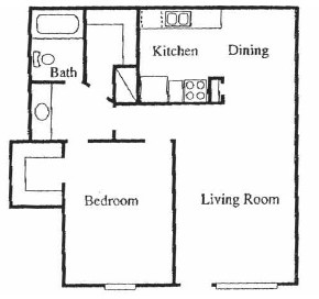 676 sq. ft. A floor plan