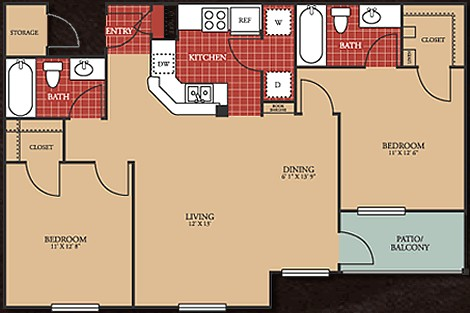 973 sq. ft. 60 floor plan