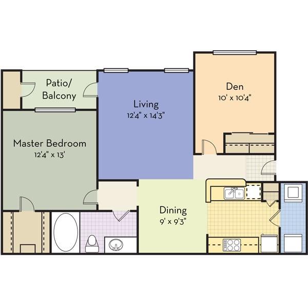 895 sq. ft. MARIN floor plan