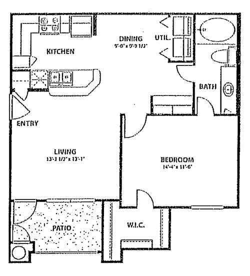 718 sq. ft. to 788 sq. ft. 60 floor plan