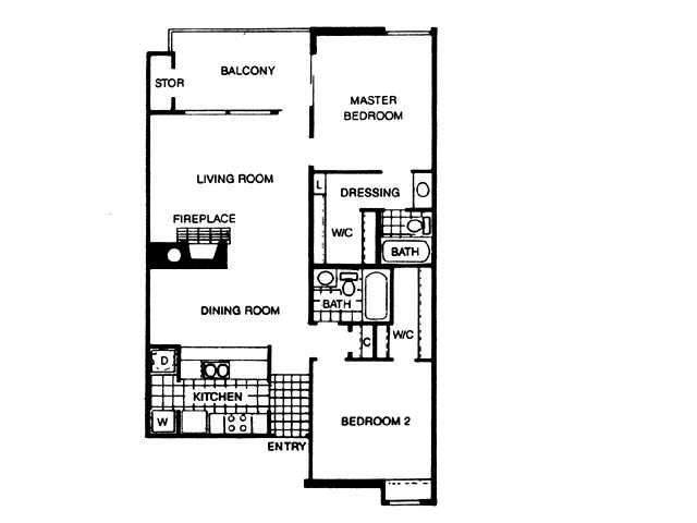 1,011 sq. ft. B1 floor plan