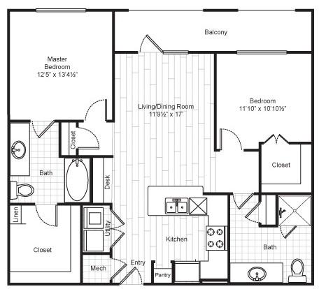 1,071 sq. ft. B1 floor plan
