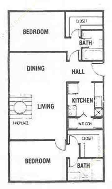 986 sq. ft. B3 floor plan