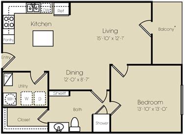 855 sq. ft. to 913 sq. ft. Midtown floor plan