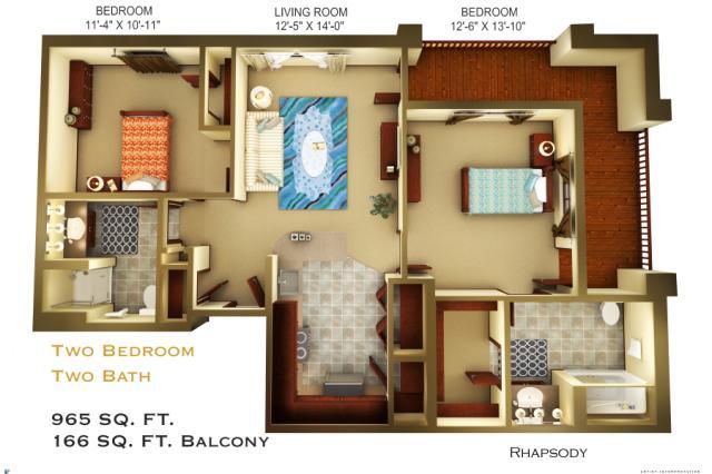 965 sq. ft. C4 floor plan