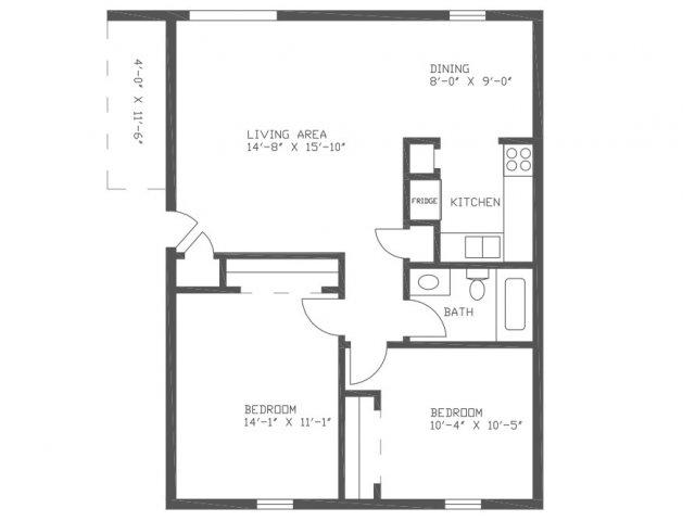 920 sq. ft. CN2 floor plan