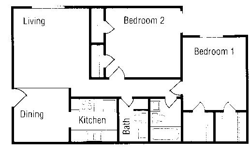 940 sq. ft. floor plan