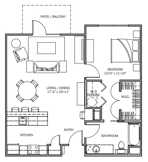 825 sq. ft. Sunflower 30% floor plan