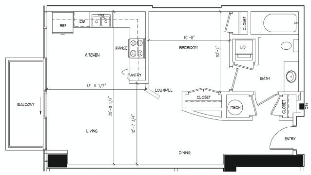 690 sq. ft. BLAKE floor plan