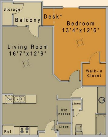 727 sq. ft. to 736 sq. ft. Dupree 30% floor plan
