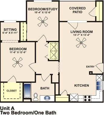 956 sq. ft. MKT floor plan