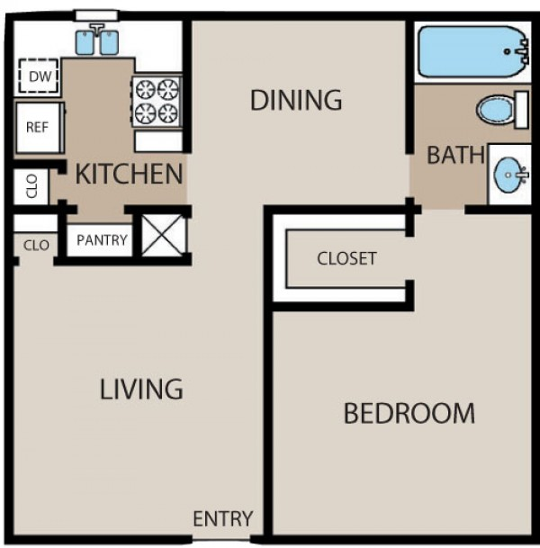 720 sq. ft. to 730 sq. ft. floor plan
