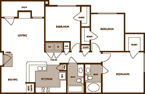 1,258 sq. ft. CARINA floor plan